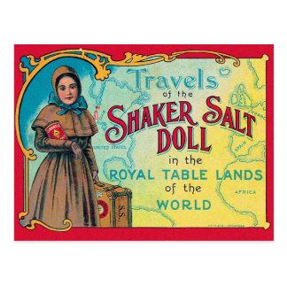 Cartão Postal Anúncio retro da boneca de sal do abanador do