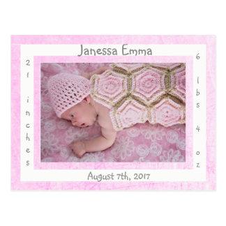 Cartão Postal Anúncios recém-nascidos do nascimento da foto do