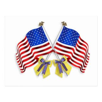 Cartão Postal Apoie nossas fitas e bandeiras amarelas das tropas
