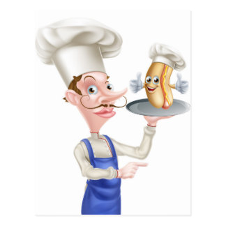 Cartão Postal Apontar do cozinheiro chefe dos desenhos animados