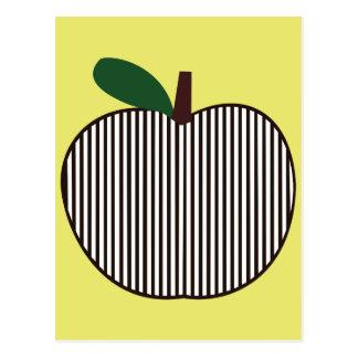 Cartão Postal Apple listrado preto e branco