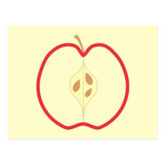 Cartão Postal Apple vermelho meio, no fundo de creme