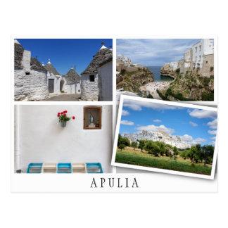 Cartão Postal Apulia ajardina a colagem com imagem fraca