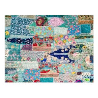 Cartão Postal Aqua e design azul da tapeçaria da edredão