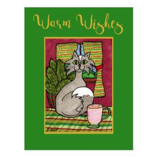 Cartão Postal Aqueça o gato dos desejos & o Natal quente do