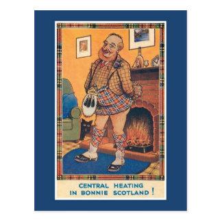 Cartão Postal Aquecimento central do vintage engraçado em