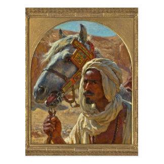 Cartão Postal Árabe e seu cavalo por Dinet