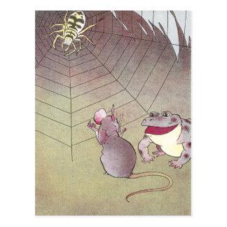 Cartão Postal Aranha da reunião do Tittle-Rato e do sapo do