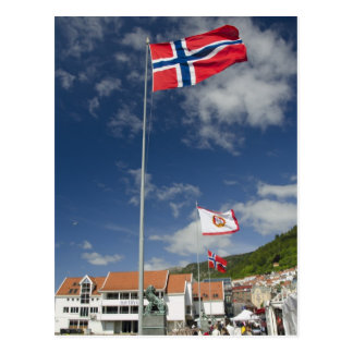 Cartão Postal Área de porto histórica do centro de Bergen com