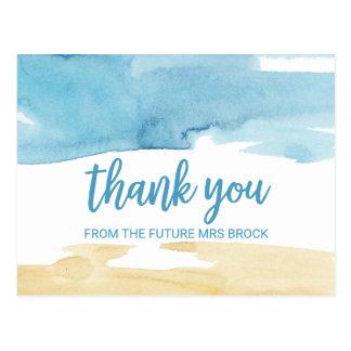 Cartão Postal Areia da aguarela e obrigado do mar você
