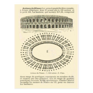 Cartão Postal Arena de Nimes, romano