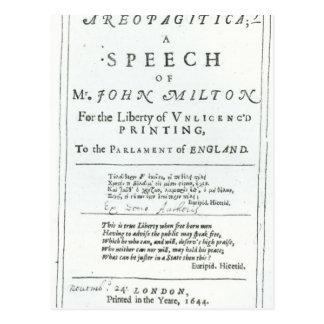 Cartão Postal Areopagitica um discurso de John Milton
