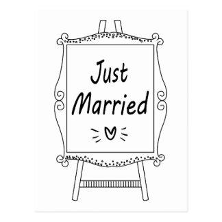 Cartão Postal Armação preto e branco do casamento do recem