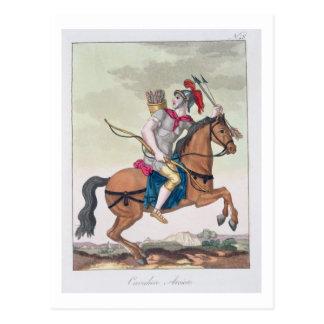 """Cartão Postal Arqueiro da cavalaria, de """"L'Antica Roma"""", 1825"""