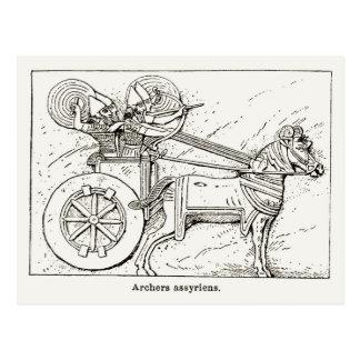 Cartão Postal Arqueiros Assyrian, vintage que tira 1890