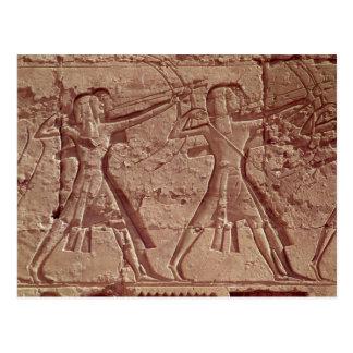 Cartão Postal Arqueiros, detalhe da caça de Ramesses III