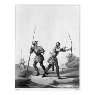 Cartão Postal Arqueiros livres durante o reino de Louis XI
