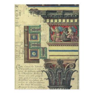 Cartão Postal Arquitetura do vintage, coluna com molde do