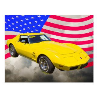 Cartão Postal Arraia-lixa 1975 de Corveta com bandeira americana