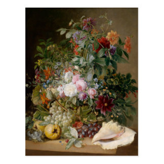 Cartão Postal Arranjo de flor e Seashell