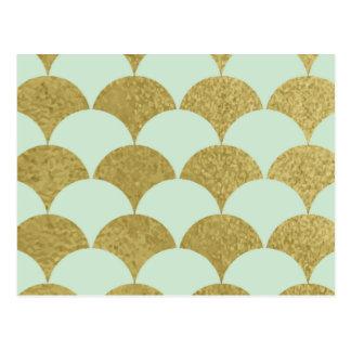 Cartão Postal art deco, hortelã, ouro, teste padrão, scallop, na