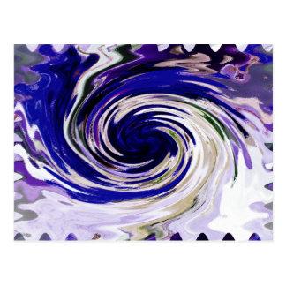 Cartão Postal Arte abstracta azul líquida do Vortex