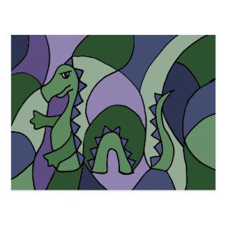 Cartão Postal Arte abstracta engraçada do monstro de Loch Ness