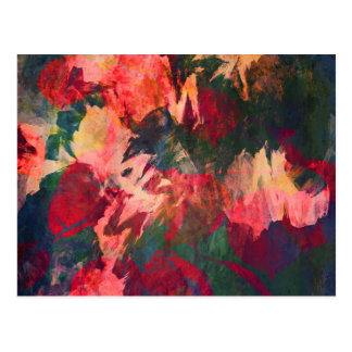 Cartão Postal Arte abstracta, folhas de outono, rosa vermelho do