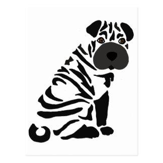 Cartão Postal Arte abstracta preta engraçada do cão de Shar Pei