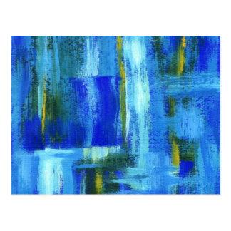 Cartão Postal Arte abstracta que pinta Brushstrokes azuis do