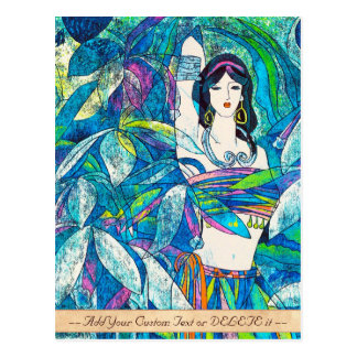 Cartão Postal Arte abstrata oriental da senhora do sibilo de Hao