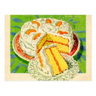 Cartão Postal Arte alaranjada do bolo do creme da comida retro