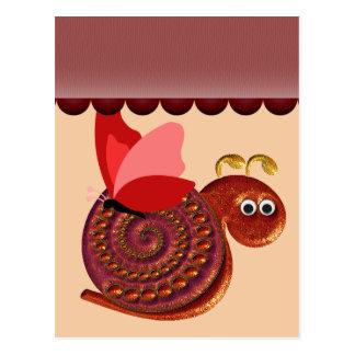 Cartão Postal Arte antiga do poster do caracol