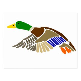 Cartão Postal Arte artística do pato do pato selvagem em vôo