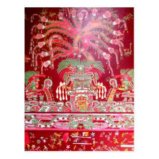Cartão Postal Arte asteca no design vermelho