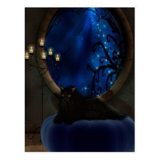 Cartão Postal Arte azul da meia-noite do gato da fantasia