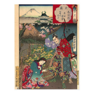 Cartão Postal Arte bonita japonesa do samurai da gueixa