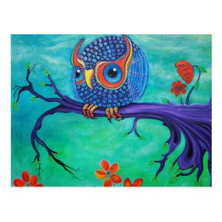 Cartão Postal Arte bonito da coruja