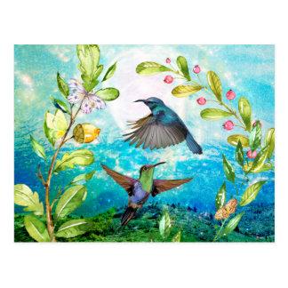Cartão Postal Arte cénico da natureza da aguarela dos colibris