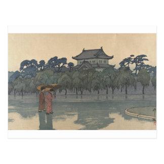 Cartão Postal Arte chuvosa japonesa do cenário de Ukiyo-e do