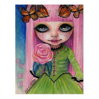 Cartão Postal Arte cor-de-rosa de cabelo cor-de-rosa do fã da