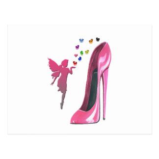 Cartão Postal Arte cor-de-rosa dos calçados da fada e do