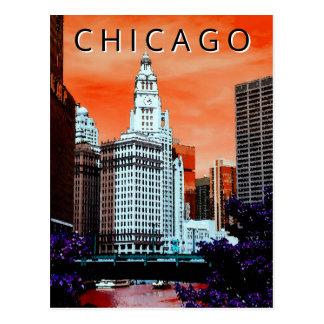 Cartão Postal Arte da aguarela da cidade do LT vento de Chicago