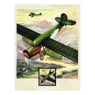 Cartão Postal Arte da cor do avião da aviação do vintage