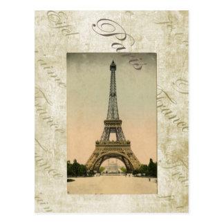 Cartão Postal Arte da torre Eiffel do estilo do vintage