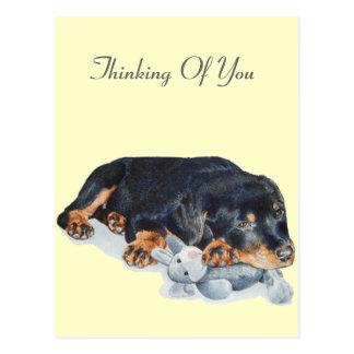 Cartão Postal arte de afago bonito do urso de ursinho do cão de