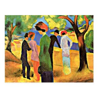Cartão Postal Arte de August Macke: Mulher em uma jaqueta verde