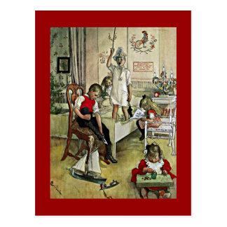 Cartão Postal Arte de Carl Larsson: Manhã de Natal