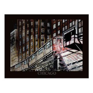 Cartão Postal Arte de Chicago Randsom do trem do EL