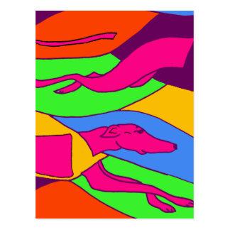 Cartão Postal Arte de competência abstrata colorida do cão do